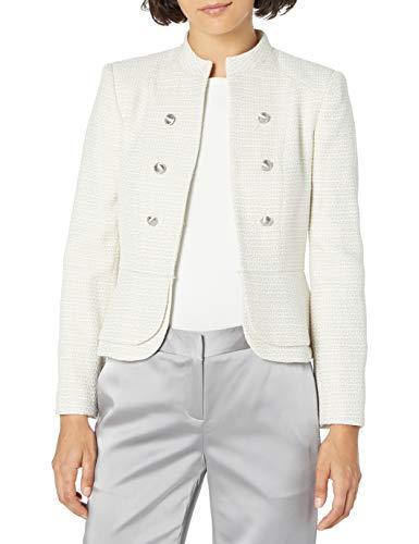 Tahari ASL Women's Petite Double Peplum Jacket, Khaki White Tweed, 14P