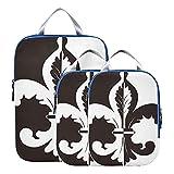 Juegos de cubos de embalaje Ilustración en blanco y negro de bolsas organizadoras de equipaje Fleur De Lis Bolsas organizadoras de maletas expandibles para equipaje de mano, viaje (juego de 3)