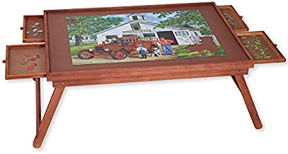 Bits and Pieces - Jumbo 1500 pc Wooden Puzzle Plateau Lounger w/ 4 Storage Drawers - Folding Jigsaw Puzzle Table