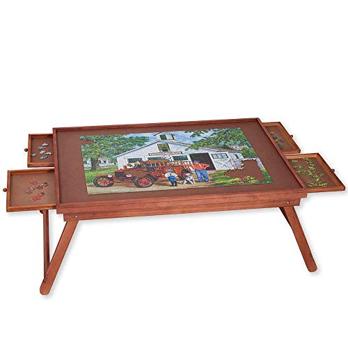 Bits and Pieces - Standard 1000 pc Puzzle Wooden Plateau Lounger with Cover-Smooth Fiberboard Work Surface - Puzzle Storage System