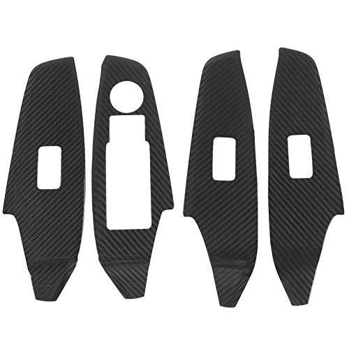 Akozon Moldura de la Cubierta del Panel de la Puerta Interior Cubierta de elevación de Ventana de Coche 4 Piezas Etiqueta engomada de la decoración de la Fibra de Carbono para 3 Axela 2016-2020(LHD)