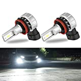 SUHU H11 LED Fog Light Bulbs 5000 Lumens 12W High Power 6000K 300% Brighter 1919 CSP Chips H11 H8 H16 Fog Light Bulbs Replacement for Car, Truck Plug and Play (Cool White,Pack of 2)