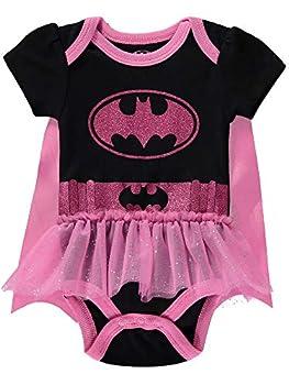 DC Comics Baby Girls  Batgirl Bodysuit Tutu Dress and Detachable Cape Black/Pink 6-9M