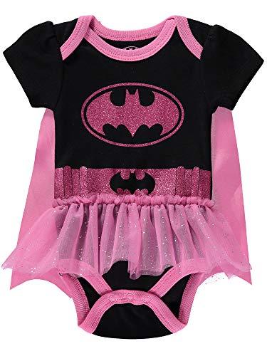 DC Comics Baby Girls' Batgirl Onesies Bodysuit Tutu Dress and Detachable Cape, Black/Pink, 6-9M