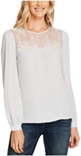 Vince Camuto Lace-Yoke Pleated-Front Top Silverstone XXSmall