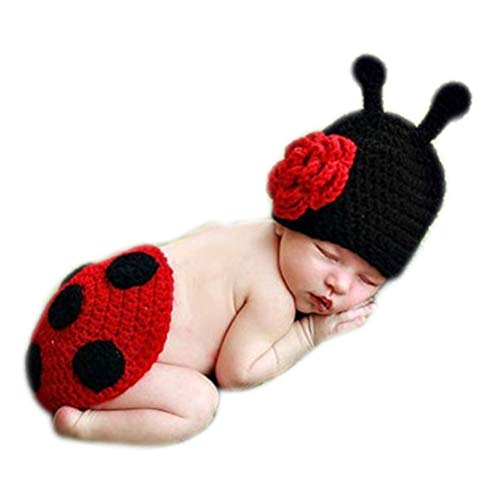 Fashion Newborn Baby Photography Props Boy Girls Photo Shoot Props Outfits Crochet Knitted Costume Unisex Cute Infant Hat Pants Set (ladybug)