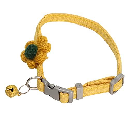 Collar del animal doméstico del poliéster, suministro ajustable del animal doméstico del collar del animal doméstico del llano del collar decorativo del animal doméstico del cerdo para el(amarillo)