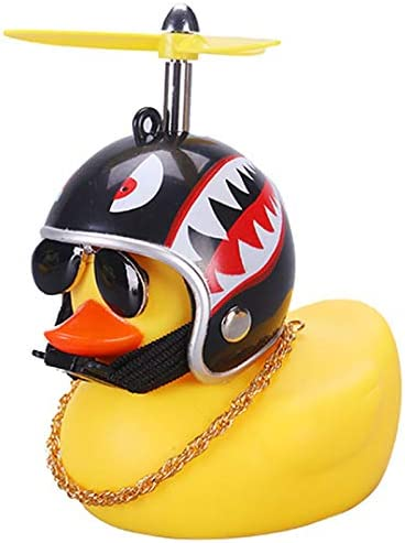 wonuu Rubber Duck Toy Car Ornaments Yellow Duck Car Dashboard Decorations with Propeller Helmet product image