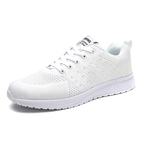 Damen Sportschuhe Fitness Laufschuhe Sneaker Schnüren Running Schuhe Ultra-Light Turnschuhe, Weiß, 40 EU