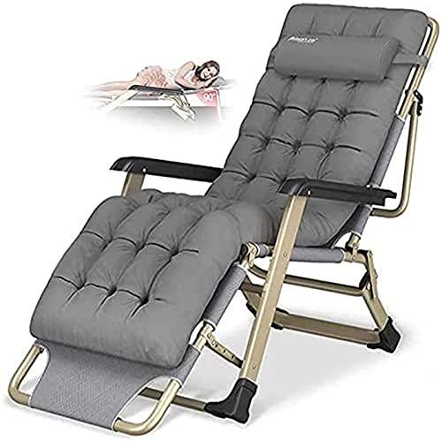 CHLDDHC Sillón reclinable Plegable Zero Gravity Sun Loungers Sillón con reposacabezas, Tumbonas Cojín de algodón para jardín Tumbonas de Patio al Aire Libre Sillón reclinable
