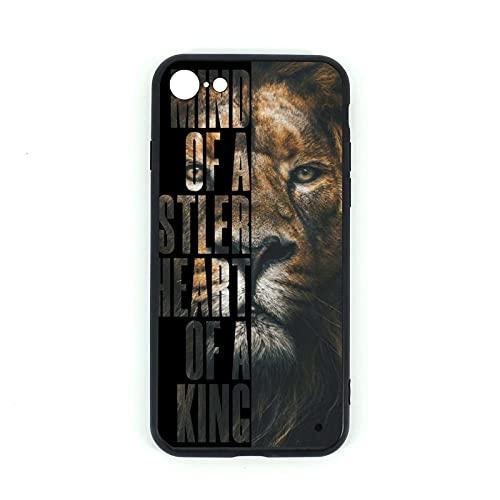 Carcasa para iPhone 7/8, diseño de corazón de un rey de cristal templado + silicona TPU de cristal para iPhone 7 y iPhone 8