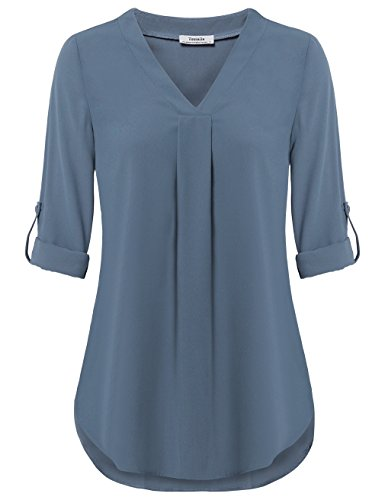 Youtalia Women 3/4 Sleeve Tops, Ladies Chiffon V Neck Blouse Pleated Curved Hem Casual Tunic Tops (XX-Large, Blue Grey)