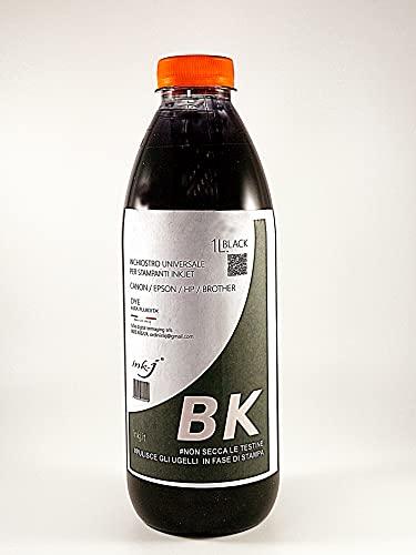 inchiostro ink-j black per canon, epson, hp, brother, ricarica cartucce, compatibile tipo dye altissima fluidita , non secca le testine bottiglia da 1 litro