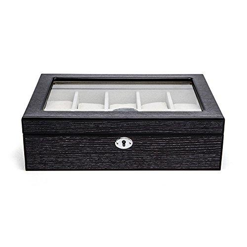 TGDY Holz Uhrenbox Schmuck Armband Display Collection Aufbewahrungsbox Fall Klavier Lackiertem Holz Vintage HD Glas Mit Verriegelungsposition 10 Schwarz (28 * 20 * 8 Cm)
