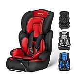 Silla de coche, Besrey bebe silla coche Grupo 1/2/3 para bebe/niños de 9 meses a 12 años, 5 puntos fijos, Reposacabezas ajuste de altura de 4 posiciones, Puede sentarse o acostarse(Rojo elegante)
