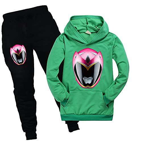 Power Ranger - Sudaderas con bolsillo para niños y niñas, con capucha y pantalones unisex para niños, verde, 9-10 Años