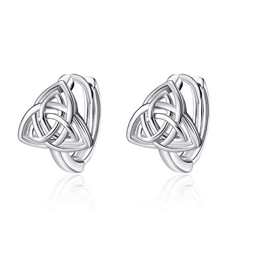 WINNICACA Celtic Knot Trinity Hoop Earrings s925 Sterling Silver Luck Irish Jewelry Huggie Earrings Birthday Mother's Day Gifts for Women Teens