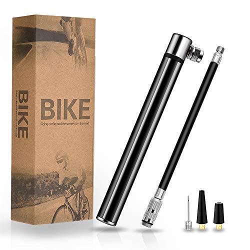 TBoonor Mini Fahrradpumpe Luftpumpe Fahrradluftpumpe Geeignet für Presta & Schrader Ventile kompakt & leichte Rahmen Pumpe Max Druck 120 PSI/8.3 Bar Handpumpe für Rennrad/Mountainbike (Schwarz)