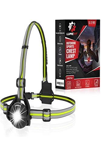 LUMEFIT Luz Running para Correr por la Noche, Linterna LED Frontal de 500 Lumens e Iluminación Trasera de Seguridad para Ciclistas– Ajustable al Pecho, con Correas Reflectantes, Recargable por USB 🔥