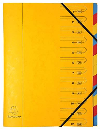 Exacompta carpeta de cartón manila, A4con 12compartimentos y cierre de goma, 400g cosido, Amarillo