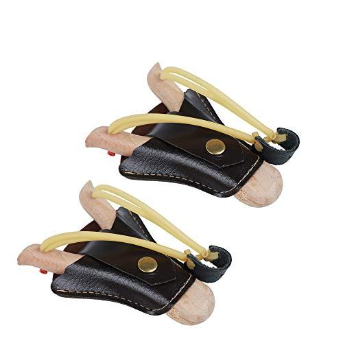Flanacom Juego de 2 tirachinas de madera con funda de piel para fijar a la hebilla del cinturón – Guisantes – Centrifugadora de madera para niños y adultos – volantes de exterior con aspecto artesanal