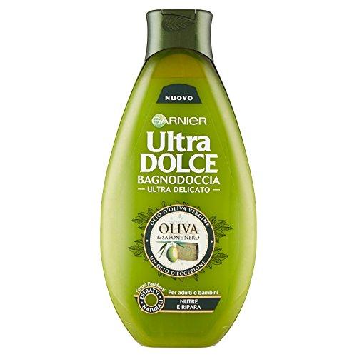 Garnier Ultra Dolce Oliva e Sapone Nero Bagnodoccia Nutriente Pelle Rigenerata e Morbida, 500 ml
