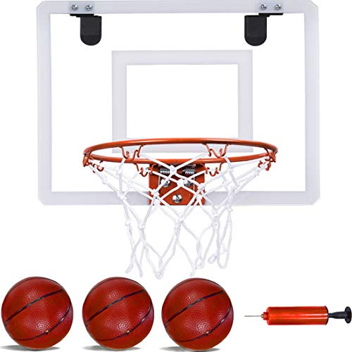 PikDos Indoor Mini Basketball Hoop for Kids and Adult 16 X 12 Inch Board Family Games for Home and Office Door Wall Mount Includes 3 Basketballs and...