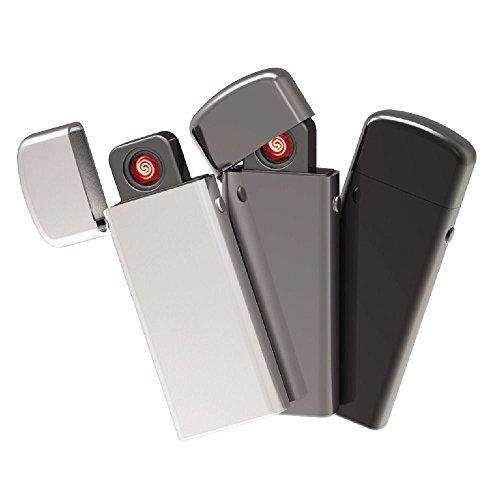 E-Flame Elektronische aansteker met USB-aansluiting, winddicht, grijs