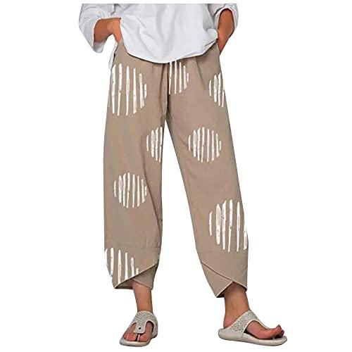 Damen Pumphose Boho Haremshose 7/8 Sommerhose, Frauen Hosen Jogginghose Loose Bequem Aladin Pants Yogahosen Haremshosen
