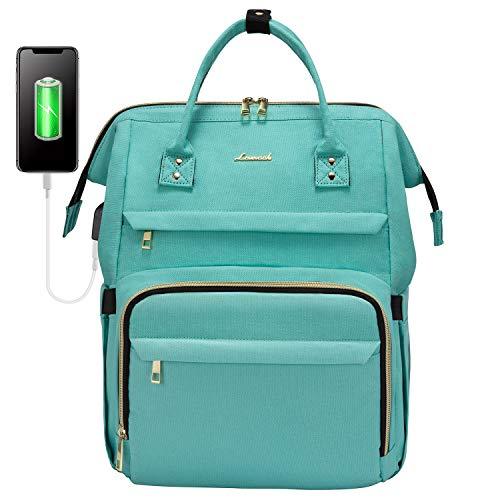 LOVEVOOK Rucksack Damen mit Laptopfach 15,6 Zoll, wasserdichte Stylischer Schulrucksack Teenager Mädchen, Business Reise Rucksäcke Tasche mit USB Ladeanschluss, Grün