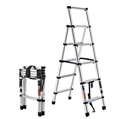 escalerilla plegable 5 peldaños escalera de aluminio escalera escamoteable domestica retráctil sin instalación de doble cara rodamiento 150 KG-5 peldaños