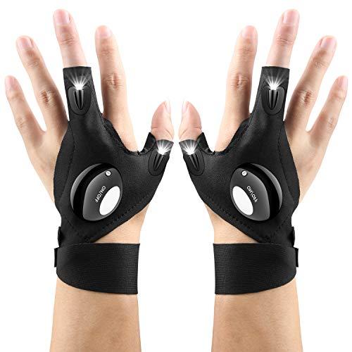 AISINO LED Flashlights Gloves, Hands free Light Tool Gadgets Gifts for Handyman, Car Repairing, Fishing, Night Running for Men/Women, 1 Pair