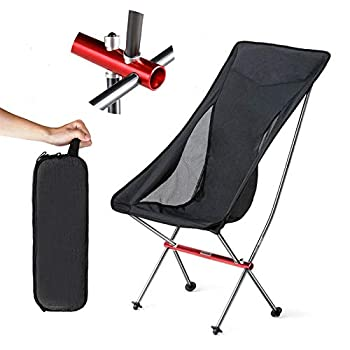 Outdoor Portable Folding Chair Aviation Aluminum Alloy Ultralight Folding Camping Chair Beach Chair Camp Chair Fishing Chair with Storage Bag Black