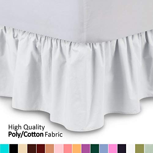 ShopBedding Ruffled Bed Skirt (Twin XL, White) 14 Inch Drop...