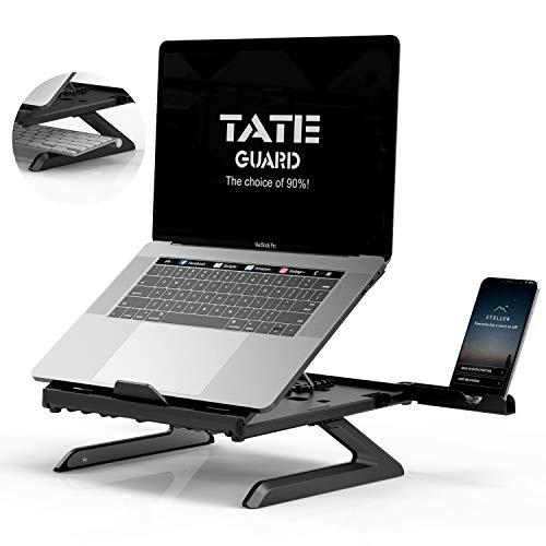 TATE GUARD Laptopständer Halterung Eingebaute,Faltbare Beine und Handyhalterung,9-Fach höhenverstellbare Laptophalterung,Tragbare Belüftung Ergonomische Unterstütung,fürTablet/MacBook schwarz