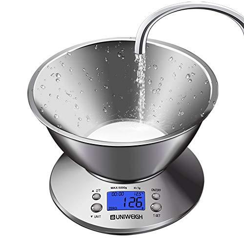 KANJJ-YU Báscula digital de cocina multifunción de alta precisión con recipiente extraíble de 2,15 l de volumen líquido, temperatura ambiente, cocina de 5 kg (rodamiento de carga: 5 kg)