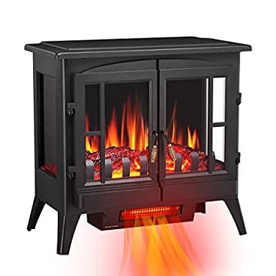Antratic Star 3D Infrared Electric Fireplace Stove, Freestanding Fireplace Heater Adjustable Brightness,Portable,Thermostat,Overheating Protection,ETL Certified,1000W/1500W(23) Inch