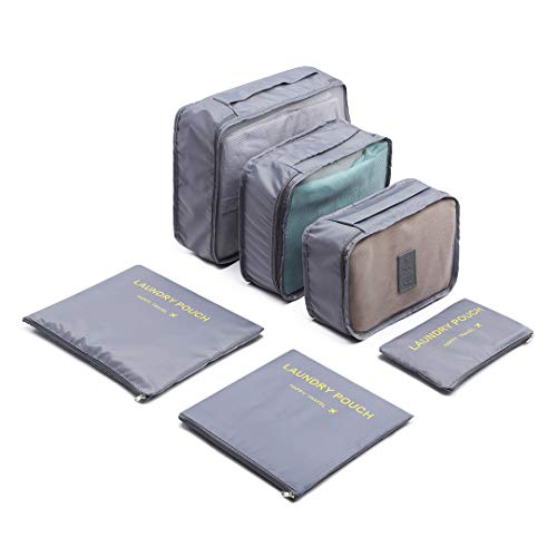 Kono 6PCS Travel Essential Bags-in-Bag Packing Cubes Durable Travel Luggage Organisers Suitcase Storage Bags Compression Pouches (Grey)