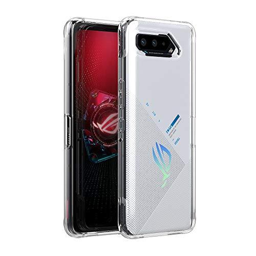 Cresee Kompatibel mit ASUS ROG Phone 5 Hülle Hülle, Transparent Harte Rückseite + Weiche TPU-Kanten Handyhülle Stoßfest Schutzhülle Cover - Clear