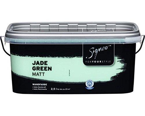 Signeo Bunte Wandfarbe Matt bis Seidengläzend Wählbar 2,5 Liter, Glanzgrad:matt, Farbe:Jade Green