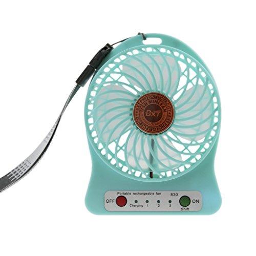 3 Speed Mini Fan Quiet Handheld Desktop Fan, Electric Rechargeable Battery/ USB Cooling Fan Laptop PC Mute Cooler Table Fan, Wall Mountable Cooling Fan, Ideal for Home,Office,Outdoor Use (Blue)