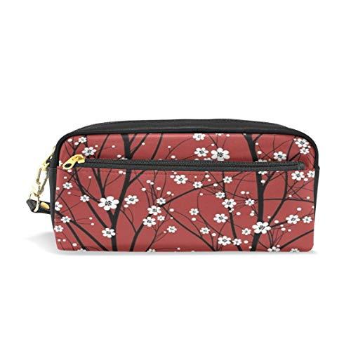 Estuche para lápices con diseño de cerezo en forma de árbol, para la escuela, con flores rojas, portátil, para maquillaje, para la oficina, organizador de almacenamiento, bolsa de viaje con cremallera para el aire libre