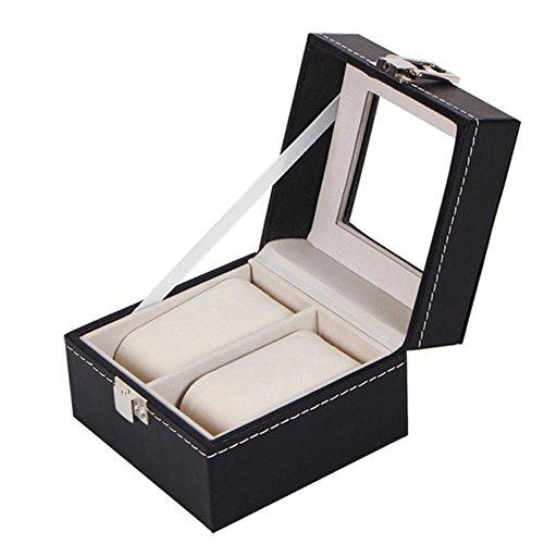 Demarkt Uhrenbox für 2 Uhren Uhrenkasten PU Leder Uhrenkoffer Uhrenschatulle Uhrenaufbewahrung (2 Gitter)
