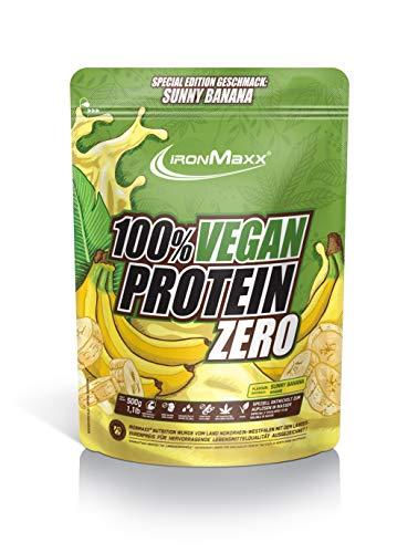 IronMaxx Vegan Protein Zero Sunny Banana - Veganes Proteinpulver aus hochwertigen, pflanzlichen Proteinquellen - 4 Komponenten Eiweißpulver ohne Soja und zuckerfrei, 500g