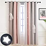 Hughapy Star Curtains Stars Blackout Curtains for Kids Girls Bedroom Living Room Colorful Double Layer Star Cut Out Stripe Window Curtains, 1 Panel -( 52W x 63L, Pink / Grey)