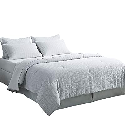 Bedsure Bed in A Bag Twin Comforter Set 6 Pieces, Soft Microfiber Seersucker Bedding Set (1 Pillowcase, 1 Pillow Sham, 1 Comforter, 1 Flat Sheet, 1 Fitted Sheet, 1 Bed Skirt), Light Grey