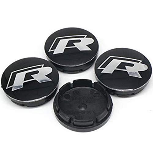 ZGYAQOO 4 Stück Embleme Radnabenkappen Aufkleber Nabendeckel für VW R Golf 5 6 MK7 Tiguan, 60mm Ersatzteil Alufelgen Nabenkappen