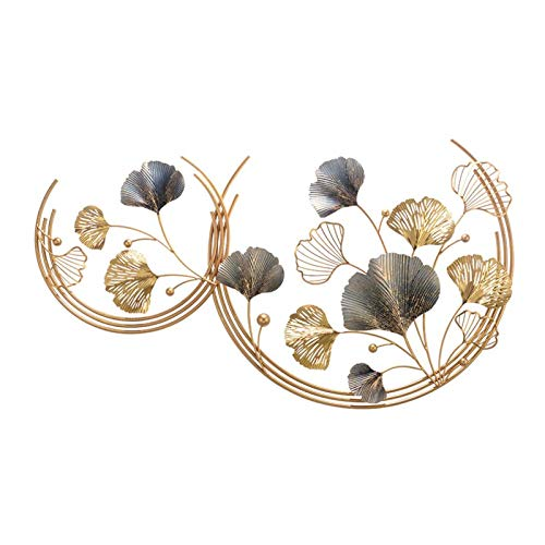 Metal Wall Decoration for Living Room, Wrought Iron 3D Ginkgo Bedroom Office