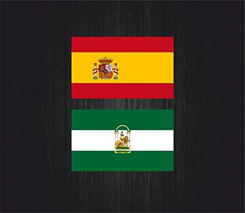 Akachafactory 2 x Aufkleber, für Auto, Motorrad, Spanien, Flagge Tuning, Andalusien, 2 Stück