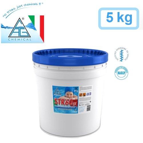 GrecoShop Cloro granulare/Cloro Shock igienizzante a rapido scioglimento per Piscina/Piscine 5kg C.A.G Chemical - STR60gr